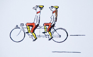 afbeelding tandem-bike-cartoon
